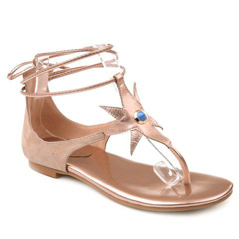 Casual Flip Flops and Tie Up Design Sandals For Women - APRICOT 37