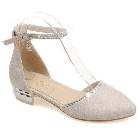 Ladylike Suede and Rhinestones Design Women's Flat Shoes - OFF WHITE 39