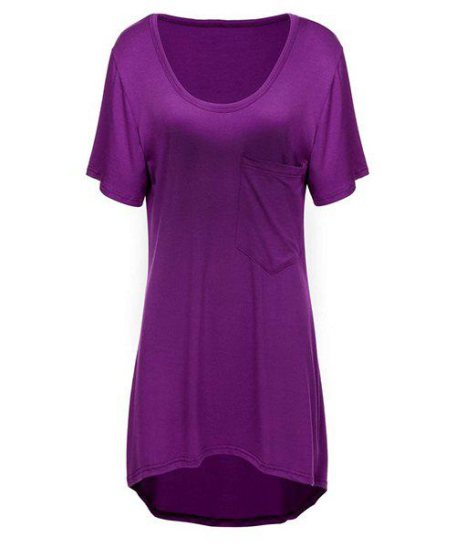 Casual Women's Scoop Neck Solid Color High Low Hem Short Sleeve T-Shirt - PURPLE M