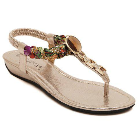 Sweet Flip Flops and Elastic Band Design Sandals For Women - GOLDEN 36
