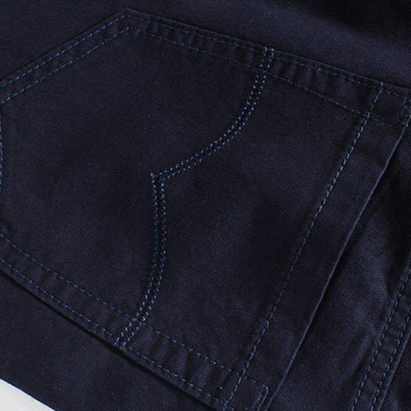 Zipper Fly Embroidered Straight Leg Men's Shorts - WINE RED 34