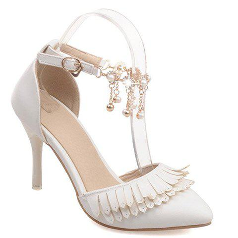 Fashionable Fringe and Two-Piece Design Women's Pumps - WHITE 34