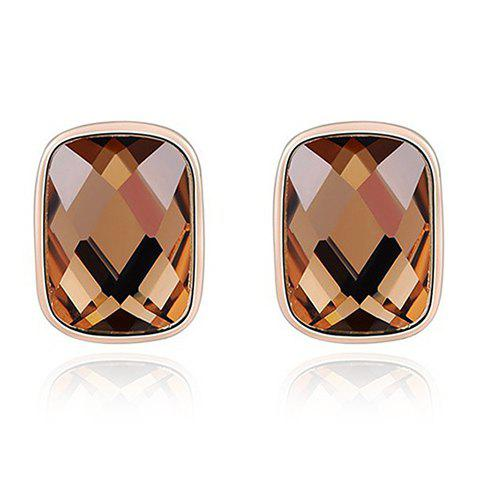Pair of Rectangle Rhinestone Earrings - GOLDEN