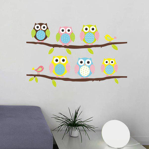Chic Cartoon Owl Birdie Pattern Removeable Wall Sticker