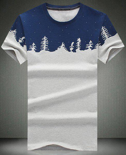 Fashionable Round Neck Christmas Tree Pattern Short Sleeve Men's T-Shirt