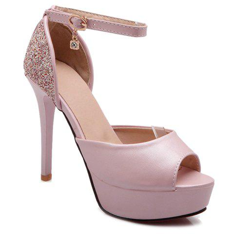 Trendy Peep Toe and Ankle Strap Design Sandals For Women - PINK 39