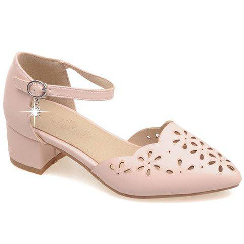 Trendy PU Leather and Engraving Design Women's Flat Shoes - PINK 37