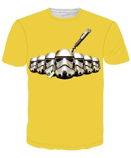 Star Wars Helmet Print Round Neck Short Sleeves Men's 3D T-Shirt - YELLOW M