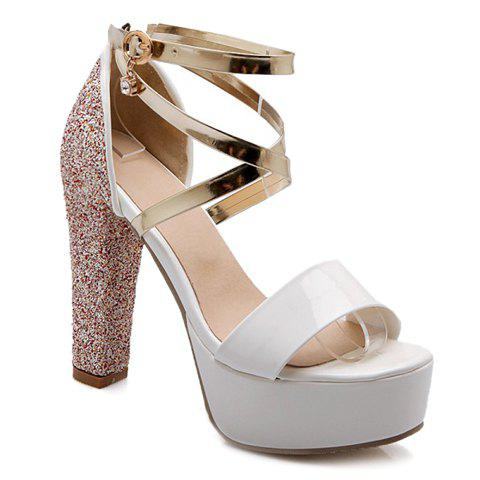 Stylish Sequins and Buckle Design Sandals For Women - PINK 39