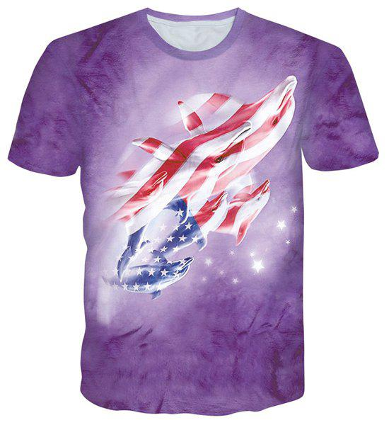 Cartoon Starry Sky Dolphin Print Round Neck Short Sleeves Men's 3D T-Shirt - PURPLE 2XL