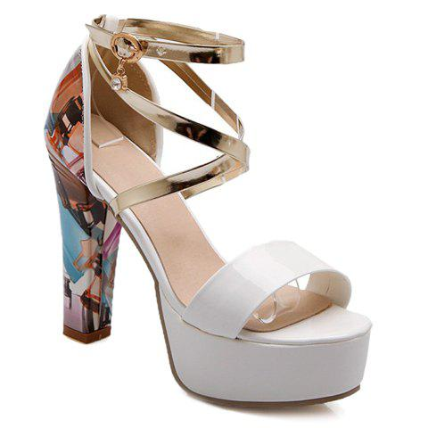 Stylish Printed and Buckle Design Sandals For Women - GOLD/WHITE 39