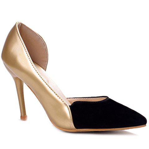 Simple Color Block and Pointed Toe Design Pumps For Women - GOLDEN 39