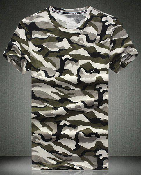 Round Neck Camouflage Printed Short Sleeve Men's T-Shirt - GRAY M