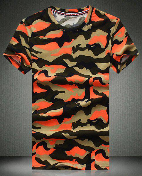 Round Neck Camouflage Printed Short Sleeve Men's T-Shirt - RED M