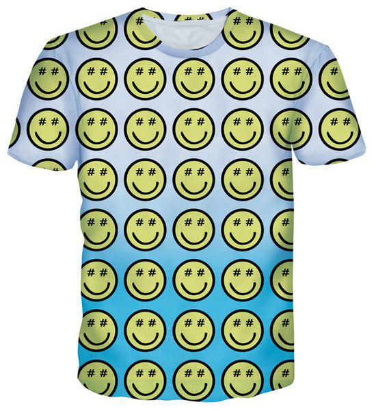 Cartoon Smile Emoticon Print Round Neck Short Sleeves Men's T-Shirt - COLORMIX S