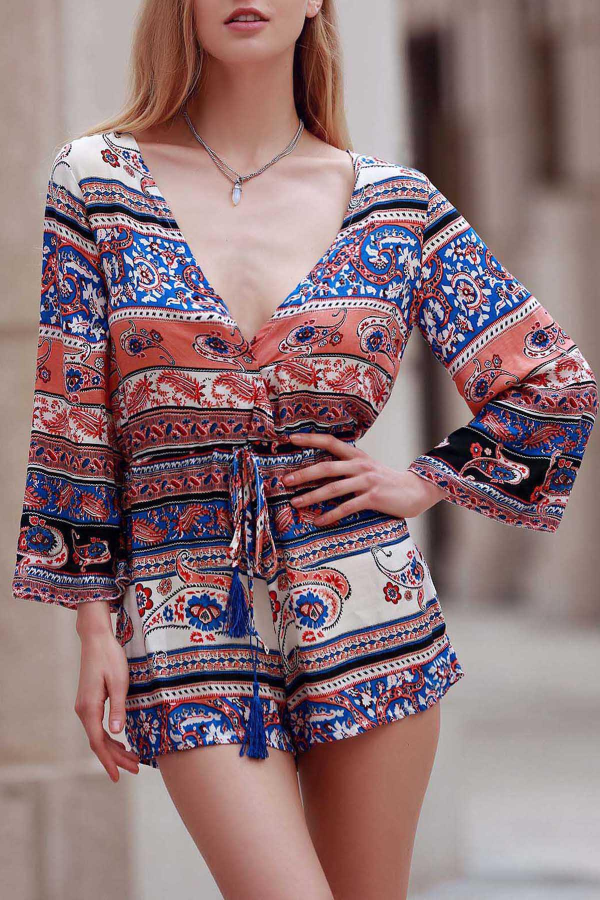 Plunging Neck Long Sleeve Ethnic Print Women's Playsuit - COLORMIX XL