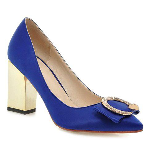 Pretty Solid Color and Pointed Toe Design Pumps For Women - BLUE 37
