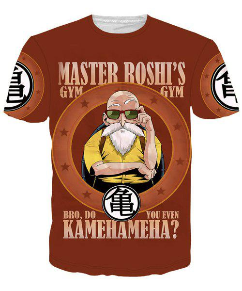 Round Neck 3D Master Roshi Print Men's Short Sleeves T-Shirt - COLORMIX M