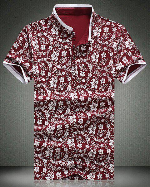 Stand Collar Floral Printed Short Sleeve Men's Polo T-Shirt - WINE RED XL