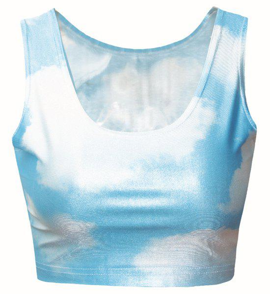 Refreshing Cloud Print Convertible Cropped Tank Top For Women - AZURE ONE SIZE(FIT SIZE XS TO M)