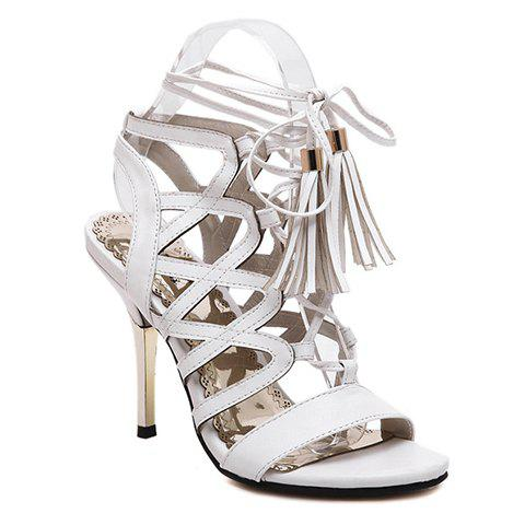 Trendy Tassels and Hollow Out Design Sandals For Women - 36 WHITE