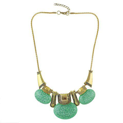 Vintage Faux Gem Oval Necklace For Women - GREEN