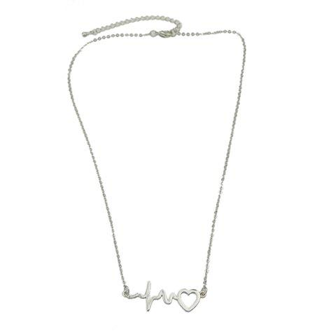 Charming Solid Color Cardiogram Heart Necklace For Women