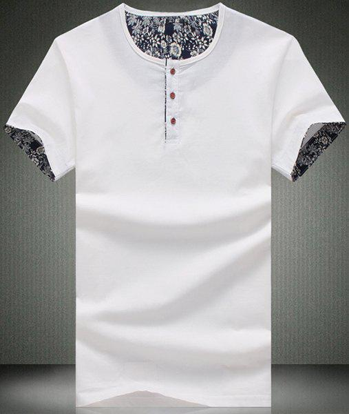 Modish Round Neck Button Embellished Short Sleeve Men's T-Shirt - WHITE L