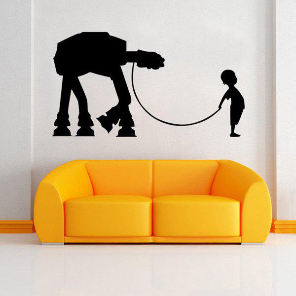 Chic Star War Child Pattern Removeable Wall Sticker - BLACK