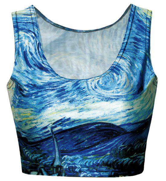 Chic Oil Painting Print Bodycon Cropped Tank Top For Women