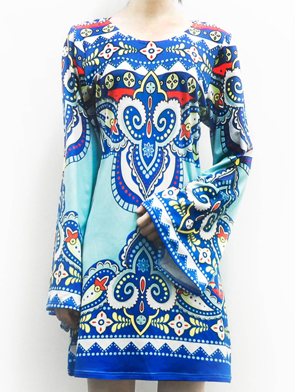Ethnic Style Women's Scoop Neck Totem Print Long Sleeve Dress - LAKE BLUE S