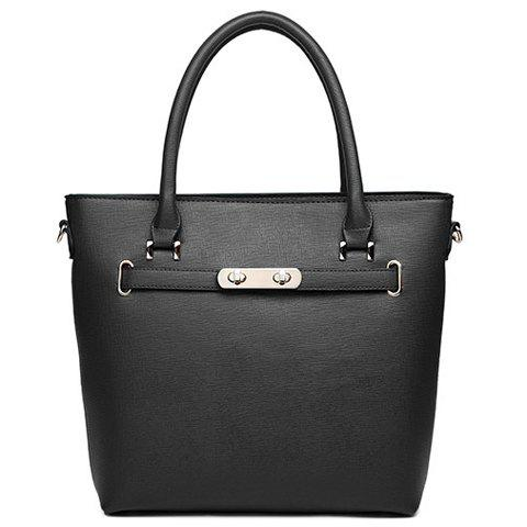 New Arrival Solid Color and PU Leather Design Tote Bag For Women - BLACK