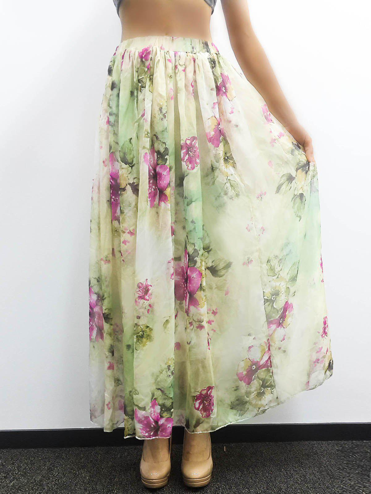 Floral Print Ankle-Length Skirt - COLORMIX ONE SIZE(FIT SIZE XS TO M)