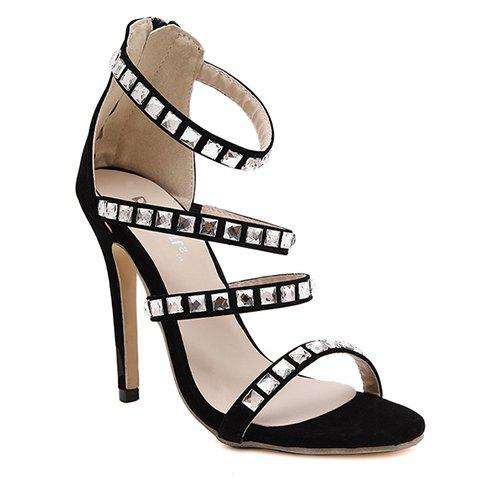 Party Rhinestones and Stiletto Heel Design Women's Sandals - BLACK 38