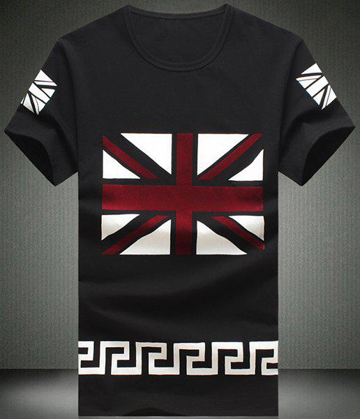 Round UK Flag Pattern Short Sleeve Men's T-Shirt - BLACK M