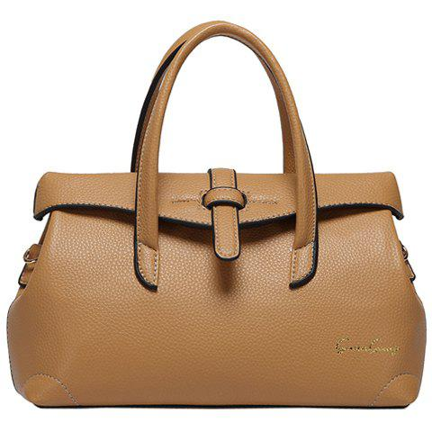 Concise Lichee Pattern and PU Leather Design Tote Bag For Women - KHAKI