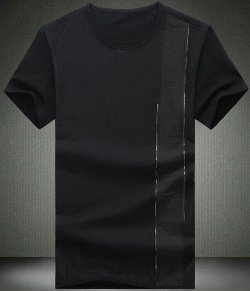 Simple Round Splicing Design Short Sleeve Men's T-Shirt - BLACK L