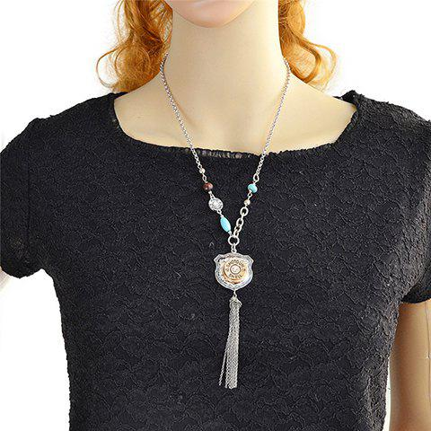 Graceful Faux Turquoise Chains Pendant Necklace For Women - SILVER