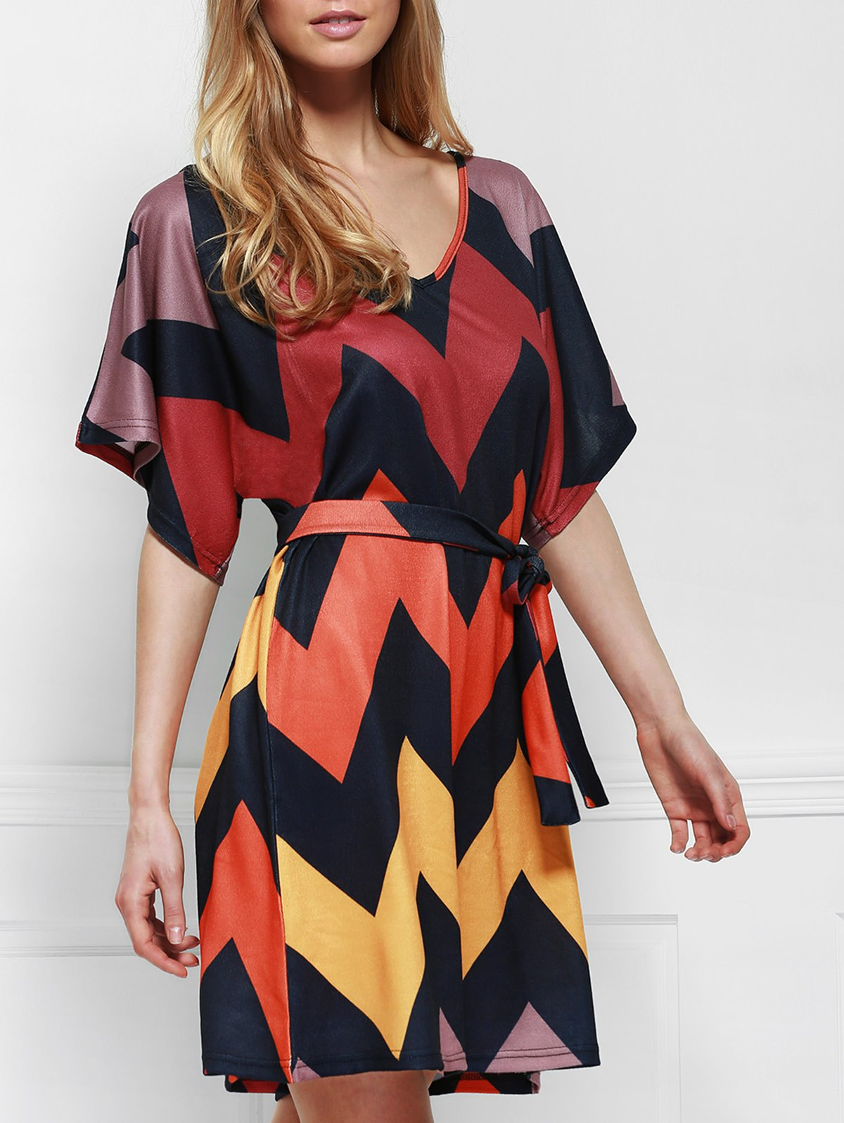Stylish V Neck Batwing Sleeve Colorful Zigzag Self Tie Belt Women's Dress - COLORMIX S