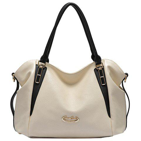Pretty PU Leather and Zip Design Tote Bag For Women - WHITE