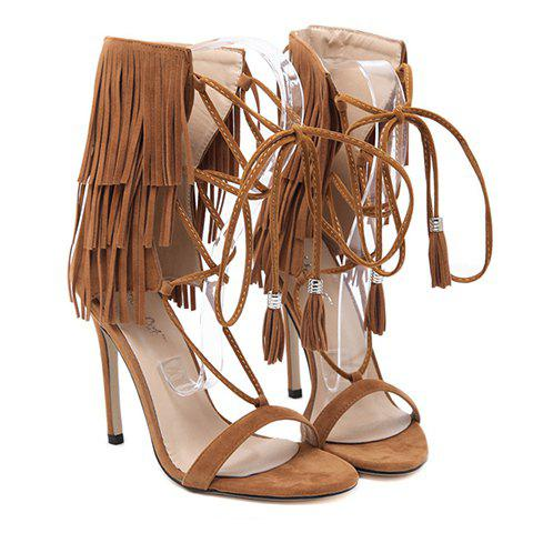 Sexy Lace-Up and Fringe Design Women's Sandals - 36 BROWN