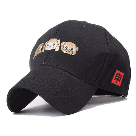 Chic Cute Monkey Emoji Embroidery Black Baseball Cap For Women - BLACK
