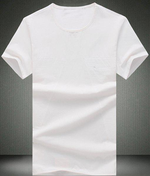 Modish Round Neck Pure Color Zipper Design Short Sleeve Men's T-Shirt - WHITE 5XL