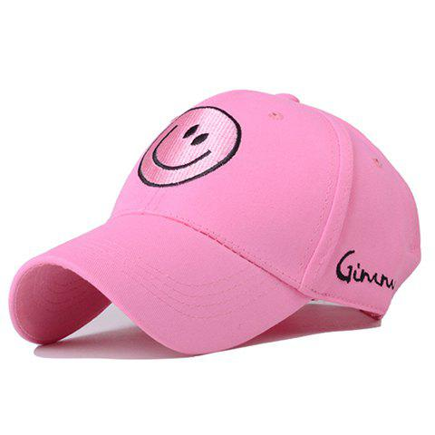 Chic Smiling Face Embroidery Pink Baseball Cap For Women - PINK