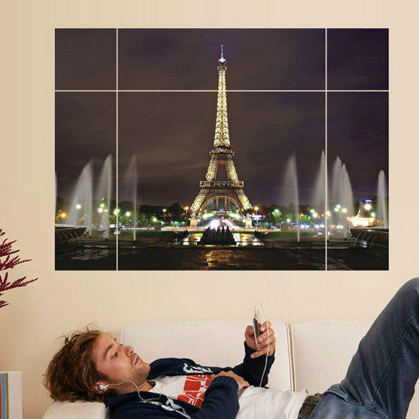 Chic Eiffel Tower Puzzle Pattern Removeable 3D Wall Sticker