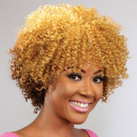 Fashion Short Golden Mixed Brown Synthetic Shaggy Afro Curly Capless Wig For Women - GOLDEN