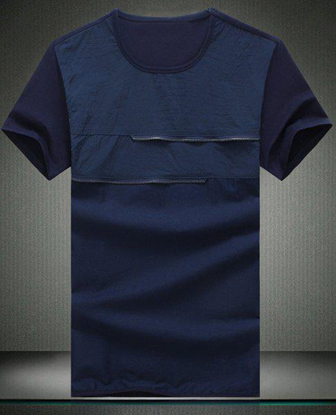 Trendy Round Neck Solid Color Spliced Design Short Sleeve Men's T-Shirt - CADETBLUE L
