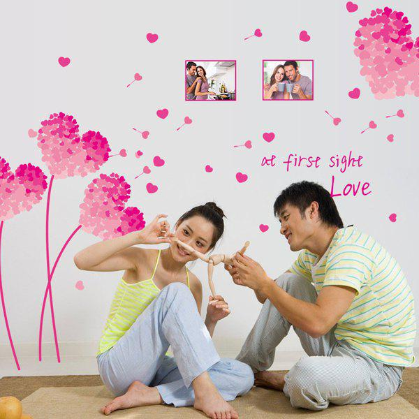 Chic Heart Dandelion Photo Frame Pattern Removeable Wall Sticker - PINK