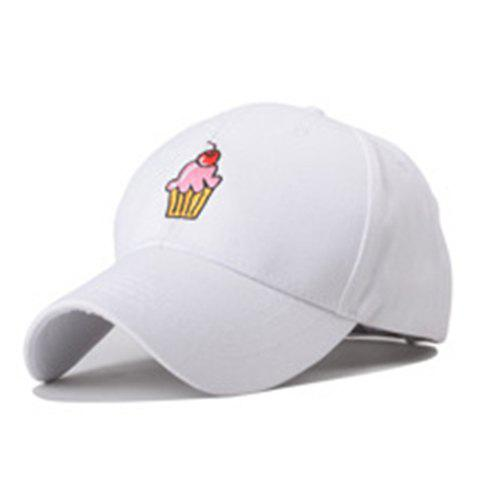 Fashionable Outdoor Sweet Cake Embroidery Baseball Cap For Women - WHITE