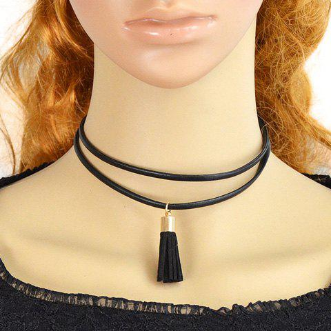 Fake Leather Rope Tassel Necklace - BLACK